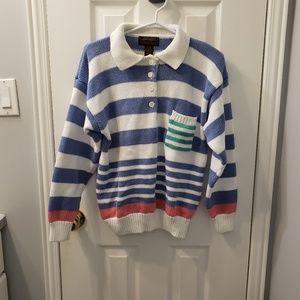EDDIE BAUER Tri Color Striped Collared Sweater